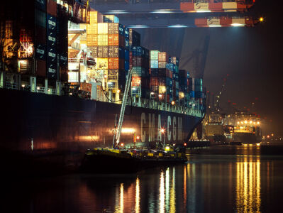 Container ship in the harbor of Hamburg, Germany.   Photographed by Alexandre Miguel Maia