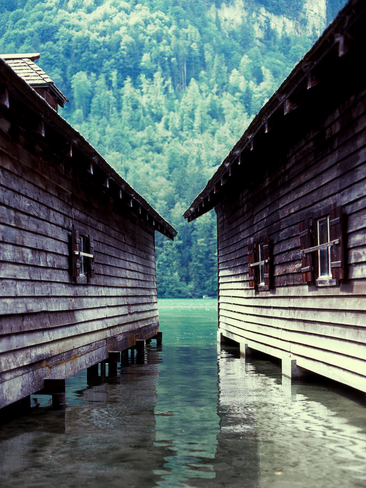 Boat houses at the Königsee, Germany.    Photographed by Alexandre Miguel Maia
